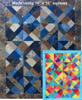 Outside the Box quilt pattern, uses 10 fabric squares & makes 4 quilt sizes, crib, lap, twin, queen""