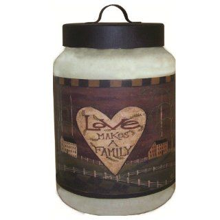 Goose Creek 2 Gallon Warm Wishes Jar Candle with Love Makes A Family Folk Art