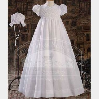 Baby Girls Pretty White Smocked Baptism Gown Dress Small: Infant And Toddler Christening Apparel: Clothing