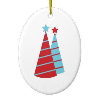 Aguamarina y árboles de navidad rojos adorno para reyes de