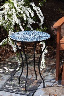 "21.5"" Dark and Light Blue Tile Mosaic Outdoor Round Patio Garden Side Table : Patio End Table : Patio, Lawn & Garden"