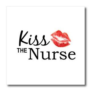 ht_151645_3 InspirationzStore Typography   Kiss the Nurse   Humorous funny Nurses day gifts   flirty red lipstick mark kisses   cheeky fun   Iron on Heat Transfers   10x10 Iron on Heat Transfer for White Material: Patio, Lawn & Garden