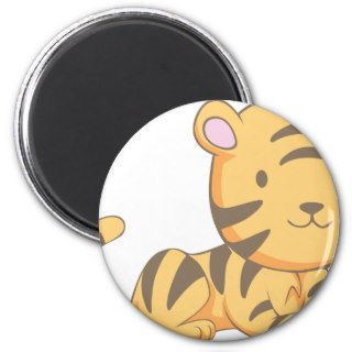 Custom Cute Smiling Cartoon Baby Tiger Cub Fridge Magnet
