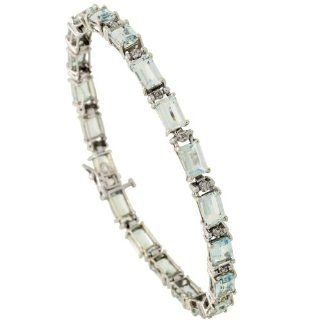 10k White Gold 7 in. Eternity Tennis Bracelet, w/ Brilliant Cut Diamonds & Emerald Cut (6x4mm) Aquamarine Stones, 3/16 in. (5mm) wide: Jewelry