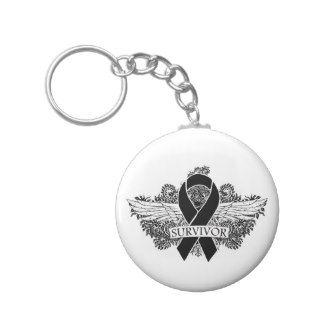 Melanoma Winged SURVIVOR Ribbon Key Chain