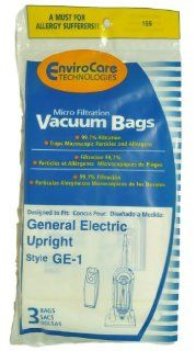 GE Upright Vacuum Cleaner Bags, Style GE1, EnviroCare Replacement Brand, designed to fit GE Upright Vacuum Cleaners, 3 bags in pack   Household Vacuum Bags Upright