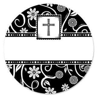 Modern Floral Black & White Cross   Circle Sticker Labels (1 sheet of 24) Health & Personal Care