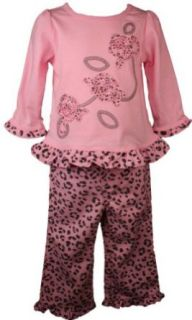 BT Kids Newborn Girls Trendy Pink 2pc Leopard Print Outfit Girl 3 9M: Clothing