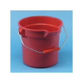 BRUTE RND BKT 14 GL WIDE POUR SPOUT RED: Industrial & Scientific
