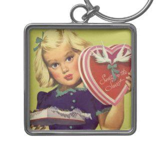 Vintage Valentine's Day; Blonde Girl w Chocolates Key Chains