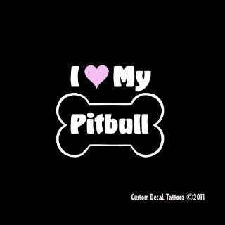 "I Love My Pitbull Dog Bone Car Window Decal Sticker 5"": Automotive"