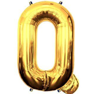 PartynBalloon ™ 32 inches Gold Alphabet Letter Character Q Jumbo Party Helium Balloon P0045 Mobile Phone Apps Special Edition Toys & Games