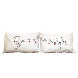 """Couple Gifts Land: """"Love Letter"""" Couple Pillowcases romantic Valentines Gifts for Couples, Cute Valentines Day Gift Ideas, Good Couple Gifts for Valentines, Romantic Anniversary Gifts (Wedding Gift for the Couple) **Color depend on stock: please"""