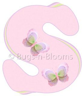 """""""s"""" Pink Purple Green Butterfly Alphabet Letter Name Wall Sticker   Decal Letters for Children's, Nursery & Baby's Room Decor, Baby Name Wall Letters, Girls Bedroom Wall Letter Decorations, Child's Names. Butterflies Mural Walls D"""