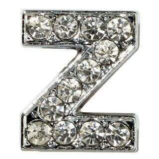 "Sugar N Vine Ice Crystal Covered Alphabet Letter ""Z"" Slide Charm   Works with Slider Style Buckle Charm Bracelets!: Jewelry"