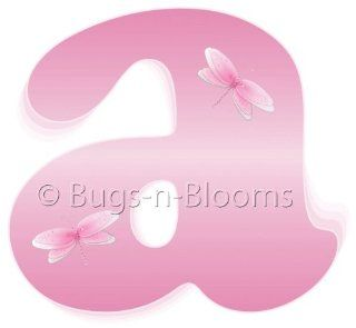 """a"" Pink Dragonfly Alphabet Letter Name Wall Sticker   Decal Letters for Children's, Nursery & Baby's Room Decor, Baby Name Wall Letters, Girls Bedroom Wall Letter Decorations, Child's Names. Dragonflies Mural Walls Decals Baby Sh"