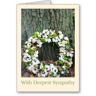 Sympathy wreath white roses greeting cards