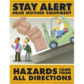 Simpsons Forklift Safety Poster   Stay Alert Near Moving Equipment: Industrial Warning Signs: Industrial & Scientific