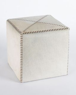 Small White Hairhide Ottoman   Jamie Young