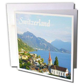 gc_155661_1 InspirationzStore Photography   Switzerland tourist travel souvenir   Swiss landscape photo of pretty lake town Weggis near Lucerne   Greeting Cards 6 Greeting Cards with envelopes : Office Products