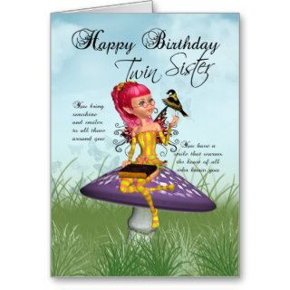 Twin Sister Birthday Card With Fairy And Chaffinch