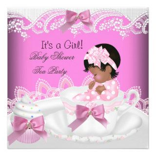 African American Baby Shower Girl Pink Baby Teacup Personalized Invite