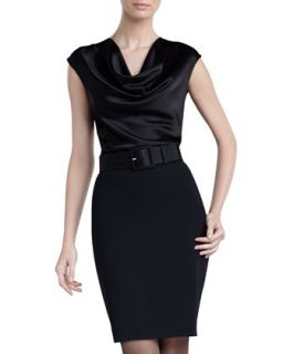 Womens Crepe Marocain Pencil Skirt   St. John Collection   Caviar (8)