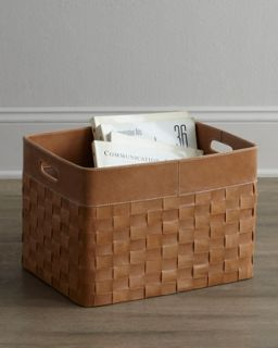 Woven Leather Basket   Jamie Young