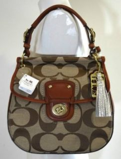 NEW AUTHENTIC COACH SIGNATURE NEW WILLIS SHOULDER HANDBAG (Khaki/British Tan): Shoes