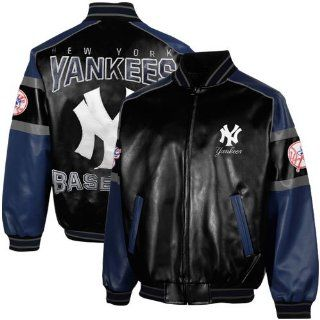 MLB New York Yankees Post Game Pleather Jacket   Black/Navy Blue (Large)  Sports Fan Outerwear Jackets  Sports & Outdoors