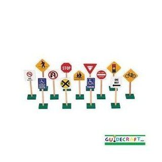 Toy / Game Guidecraft 7' Block Play Traffic Signs (G309) w/ Sturdy Wood Construction, Non tip Bases & Non toxic: Toys & Games