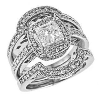 Radiant Cut Diamond Engagement Ring Matching Wedding Bands Bridal Set Millgrain Edged Vintage Style 14K White Gold (1 3/4 Carats, SI 1 Clarity, F Color): Jewelry