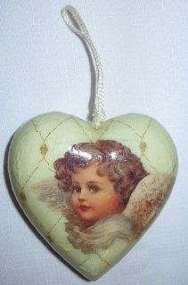 Decoupage Angel Heart ornament : Decorative Hanging Ornaments : Everything Else