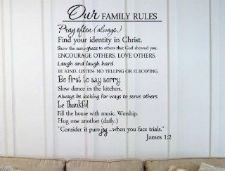 Newsee Decals Our family rules Pray often (always.) Find your identity in Christ. Show the same grace to others that God showed you. Encourage others. Love others. Laugh and laugh hard. Be kind. Listen  no yelling or elbowing. Be first to say sorry. Slow d