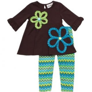Size 6M RRE 64972F, BROWN TURQUOISE MULTI ZIG ZAG JEWEL SOUTACHE FLOWER APPLIQUE Top/Legging Outfit Set, Rare Editions NEWBORN, F864972: Infant And Toddler Pants Clothing Sets: Clothing