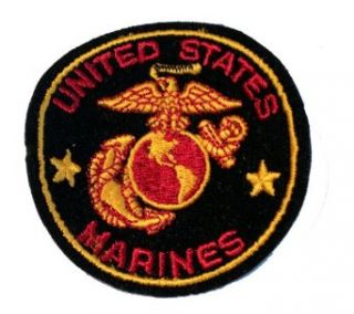 "USMC Marine Corps Military Embroidered Iron On Patch   ""Once A Marine, Always A Marine"" Eagle Globe Anchor Logo Applique: Clothing"
