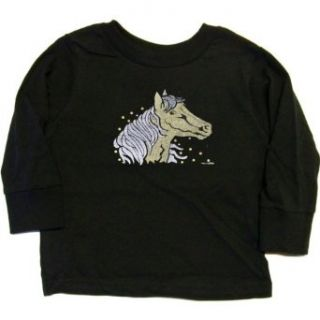 TODDLER LONG SLEEVE T SHIRT : NAVY   4T   Gold and Silver Horse (Metallic Ink): Clothing