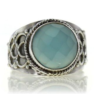 Chalcedony Ring (size: 5.75) Handmade 925 Sterling Silver natural hand cut Chalcedony color Blue 4g, Nickel and Cadmium Free, artisan unique handcrafted silver ring jewelry for women   one of a kind world wide item with original natural Chalcedony gemstone