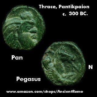 300 BC. Satyr PAN. Pegasus. Winged Horse. Thrace, Pantikapaion. Greek Coin.: Everything Else