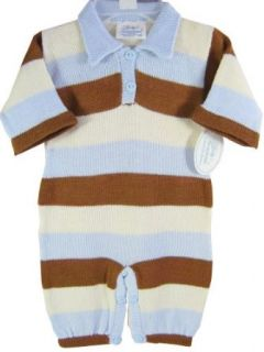 Baby's Trousseau Blue Brown & Cream Striped Boys Knit One Piece Romper & Hat Outfit 3 months: Infant And Toddler Bodysuits: Clothing