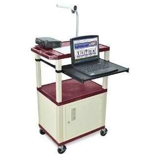 LUXOR Mobile Computer Workstations with Cabinet and Pull Out Tray   Blue: Industrial & Scientific