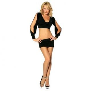 Sexy Cut Out Sleeves Top Skirt Club Dress Two Piece Set   Black   Small/Medium: Clothing