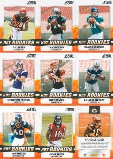 2011 Score Football Hot Rookies 30 Card Complete Set Including Cam Newton, Ryan Mallett, A.J. Green, Andy Dalton, Blaine Gabbert, Christian Ponder, Jake Locker, Julio Jones, Mark Ingram and Many Others!: Sports & Outdoors