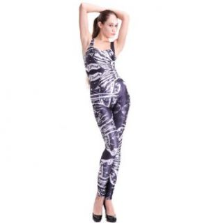 Women Ladies Graffiti Print Jumpsuits Rompers Overall Bodysuit Pants Black: Clothing