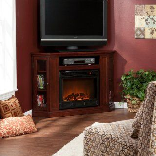 Southern Enterprises Claremont Convertible Media Cherry Electric Fireplace   Gel Fuel Fireplaces