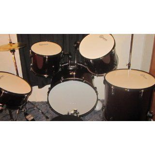 Drum Set Wine Red 5 Piece Complete Full Size with Cymbals Stands Stool Sticks: Musical Instruments