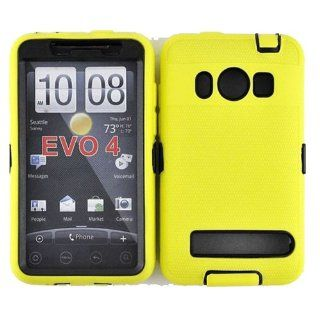 Hybrid Case+Film, Fits HTC EVO 4G PC36100 Armor Yellow Black Hybrid Case (Outside Yellow Soft Silicone Skin, Inside Black Front and Back Hard Case) + LCD Screen Protective Film Sprint (does not fit HTC EVO 4G LTE): Cell Phones & Accessories