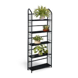 Black Metal Outdoor Patio Plant Stand 5 Tier Shelf Unit  Wrought Iron Tiered Stand  Patio, Lawn & Garden