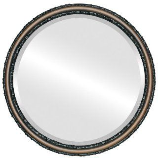 Ornate wood Round Beveled Wall Mirror in a Brown Virginia style Walnut Frame 16x16 outside dimensions   Wall Mounted Mirrors