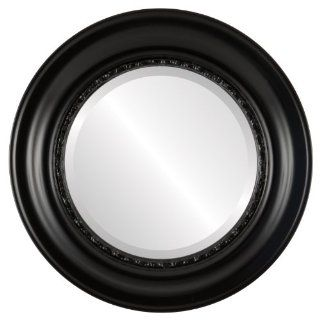 Ornate wood Round Beveled Wall Mirror in a Black Chicago style Gloss Black Frame 19x19 outside dimensions   Wall Mounted Mirrors